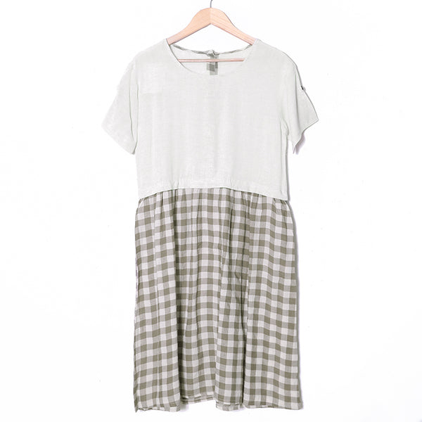 Summer Short Sleeve Casual Lattice  Dress For Women - Buykud