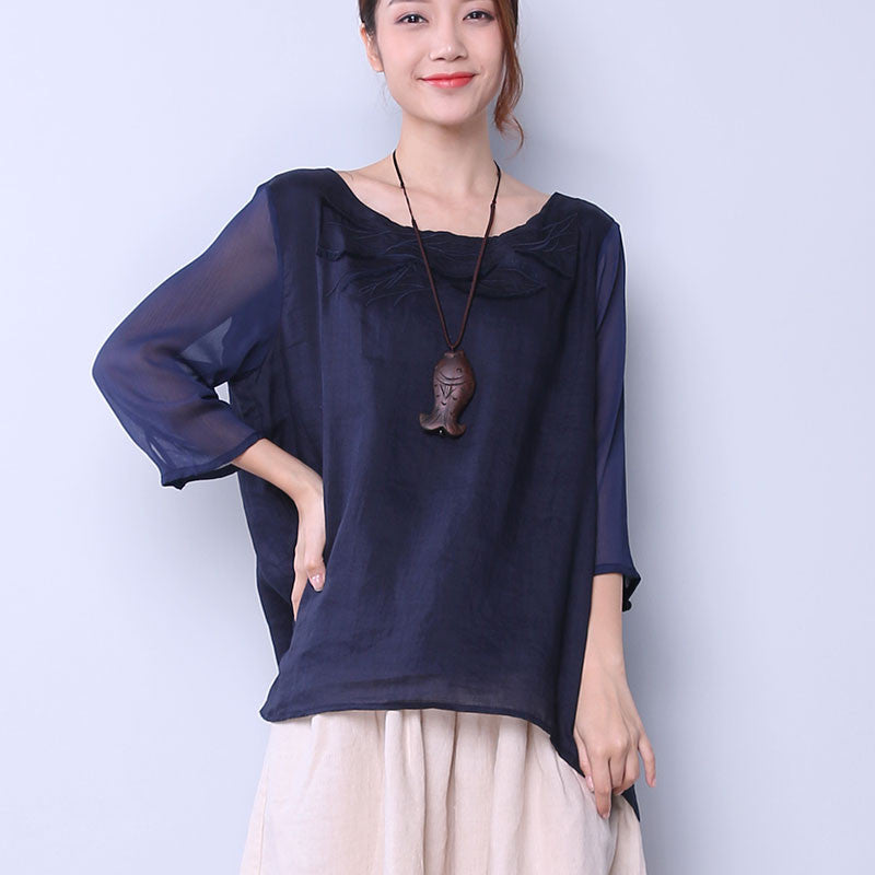 Embroidered Splicing Women Blue Shirt - Buykud