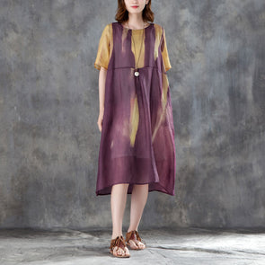 Women Short Sleeve Printed Linen Casual Dress