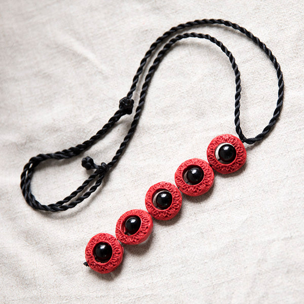 Ethnic Black Carnelian Bead Vintage Lucky Accessories Women Necklace - Buykud