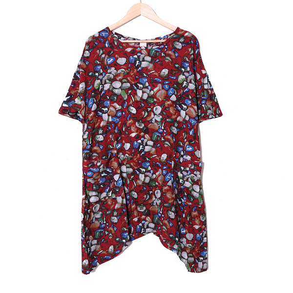 Summer Printing Short Sleeve Casual Dress For Women - Buykud