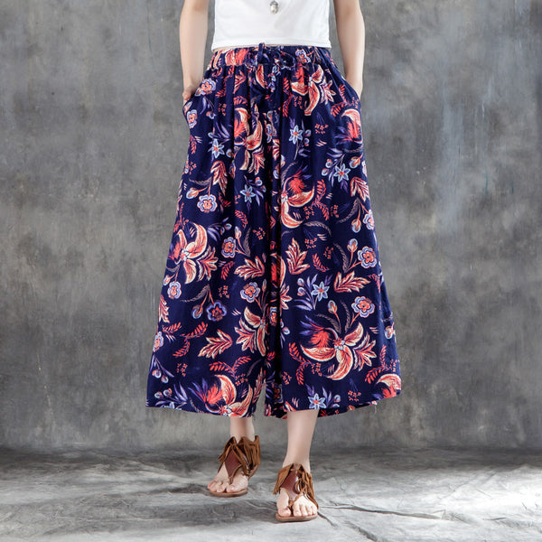 Women Calf-Length Casual Printed Drawstring Wide Leg Pants