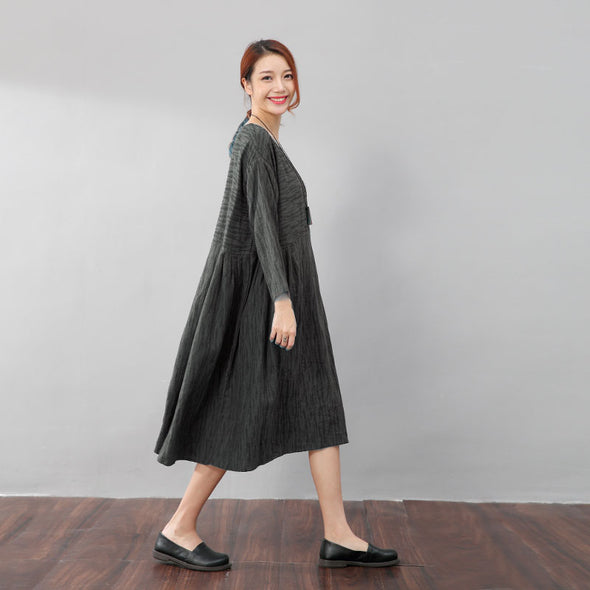 Autumn Women Casual Loose Linen Gray Pleated Dress - Buykud