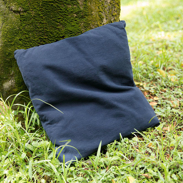 Cotton Linen Comfortable Square Navy Blue Pillow - Buykud