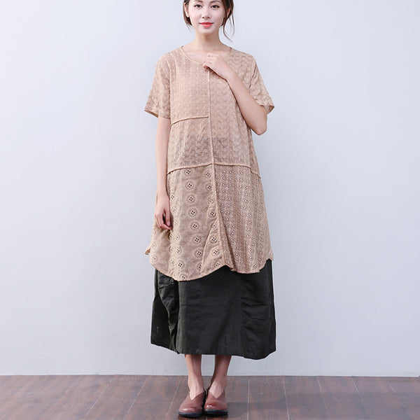 Hollowed Women Loose Splicing Cotton Linen Short Sleeves Khaki Dress - Buykud