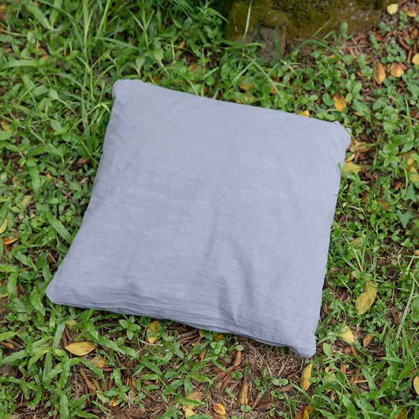 Cotton Linen Comfortable Square Light Gray Pillow - Buykud