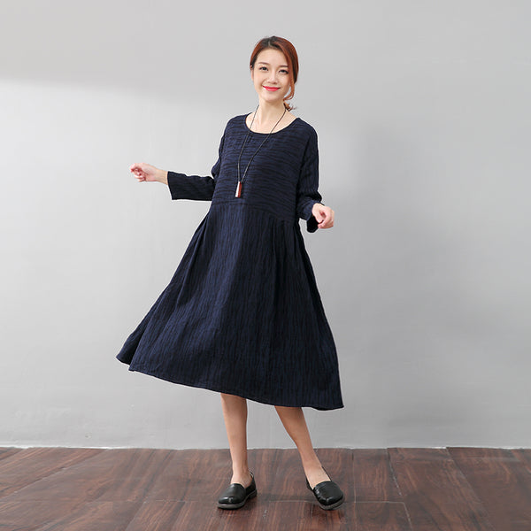 Autumn Women Casual Loose Linen Blue Pleated Dress - Buykud