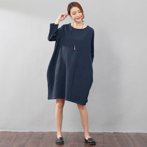 Women Round Neck Three Quarter Sleeve Loose Blue Dress - Buykud