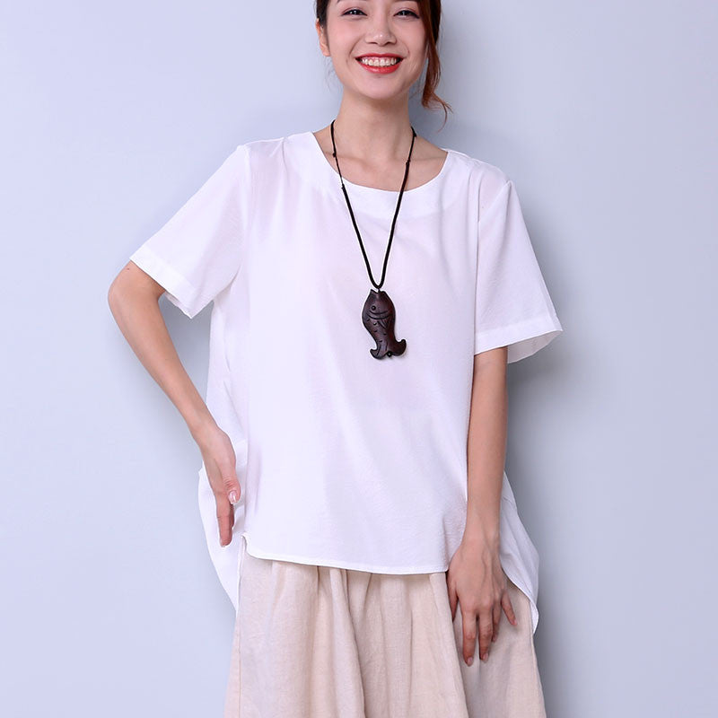 Irregular Solid Linen Women White Shirt - Buykud