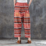 Women Printed Pockets Casual Cotton Polyester Pants