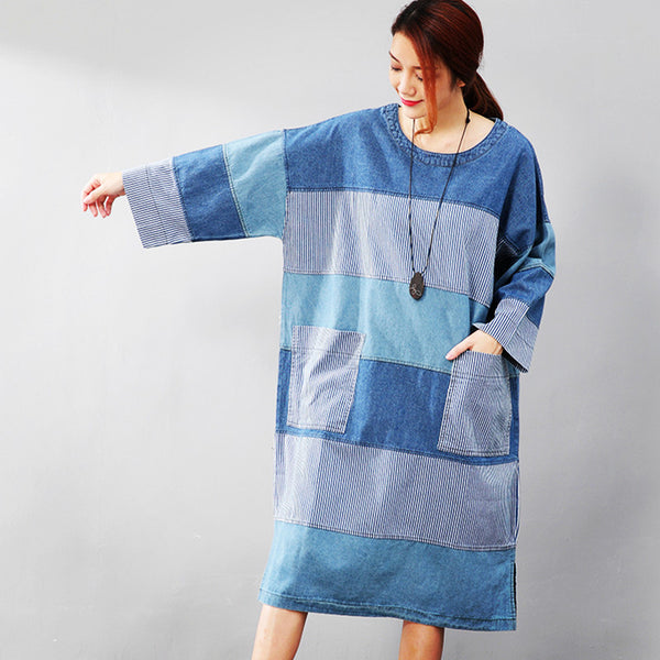 Individual Autumn Women Splicing Stripe Lattice Split Blue Denim Shirt - Buykud