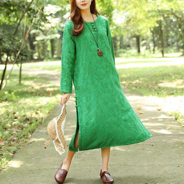 Autumn Round Neck Retro Jacquard Long Sleeve Blue Dress For Women