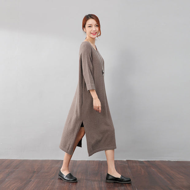 Stylish Design Waistbelt Women Round Neck Shoulder Sleeve Coffee Sweater Dress - Buykud