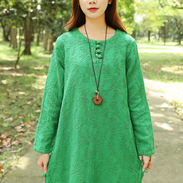 Autumn Round Neck Retro Jacquard Long Sleeve Green Dress For Women - Buykud