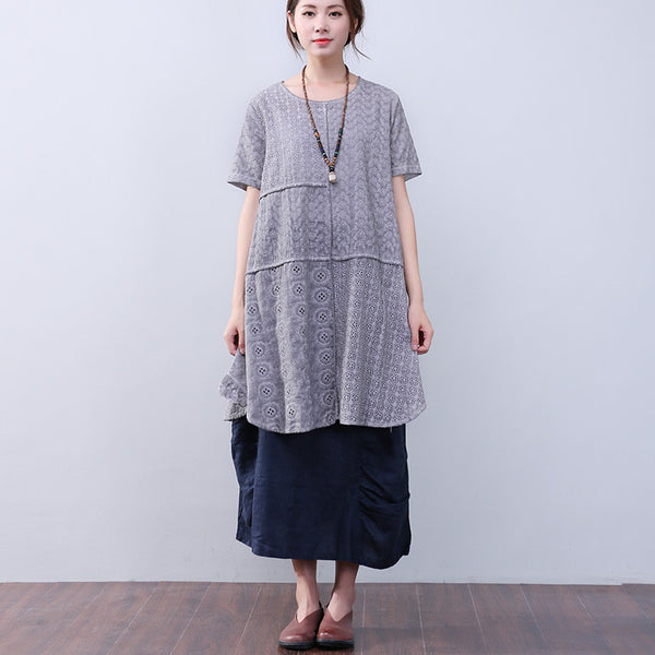 Hollowed Women Loose Splicing Cotton Linen Short Sleeves Gray Dress - Buykud