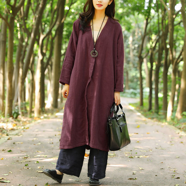 Retro Autumn V Neck Wine Red Thin Coat For Women - Buykud