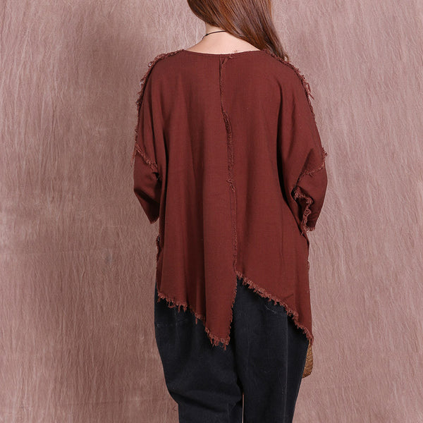 Irregular Splicing Pocket Women Coffee Shirt - Buykud