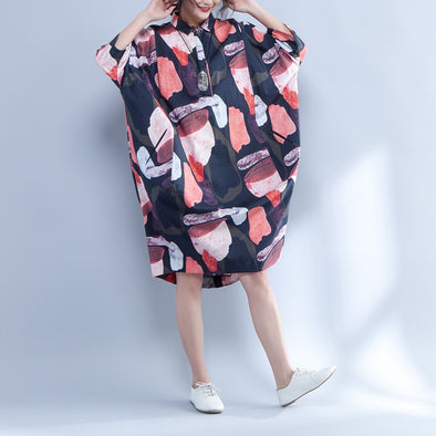 Polo Collar Printed Loose Three Quarter Sleeve Dress - Buykud