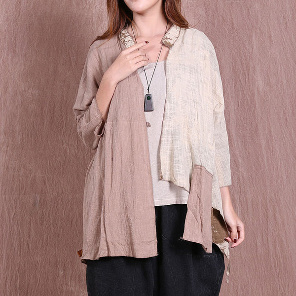 Casual Cotton Women Irregular Loose Linen Beige Coat - Buykud