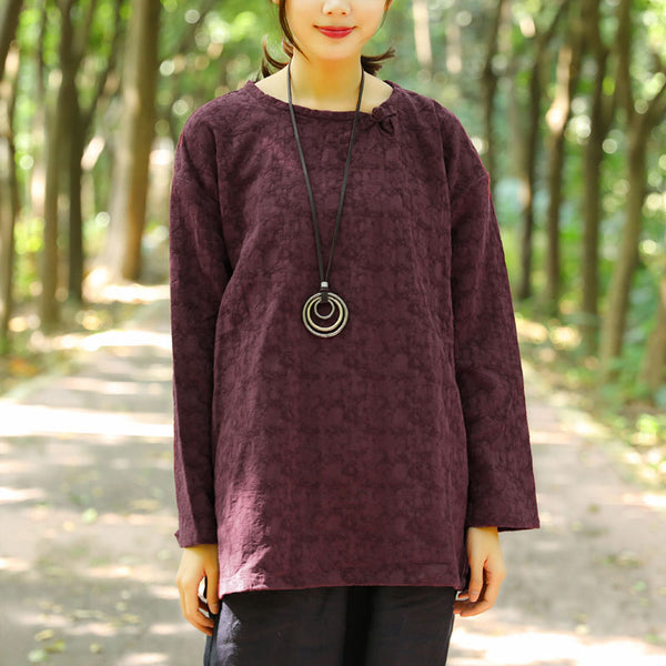 Autumn Casual Long Sleeve Jacquard Wine Red Shirt For Women - Buykud