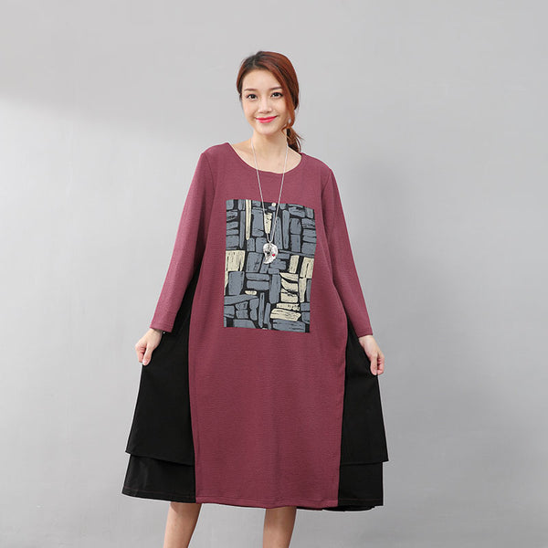 Fashionable Printing Splicing Women Round Neck Long Sleeve Red Dress - Buykud