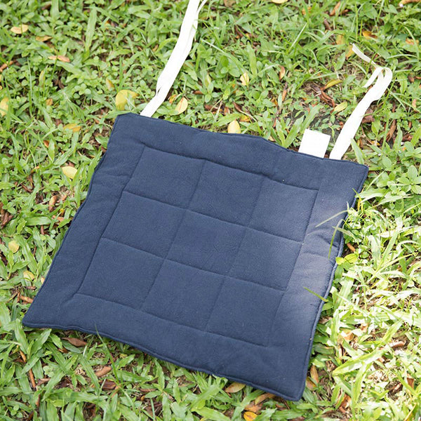 Seat Cushion Solid Navy Blue Geometry Strap Soft Cushion - Buykud
