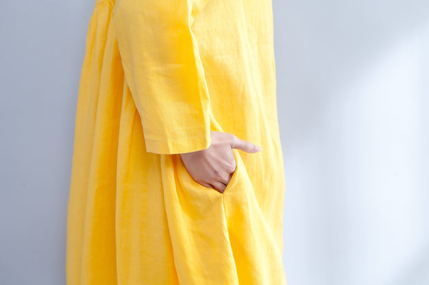 Loose Long Sleeve Round Neck Linen Cotton Yellow Dress - Buykud