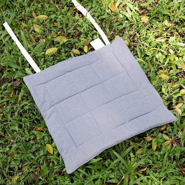 Seat Cushion Solid Light Gray Geometry Strap Soft Cushion - Buykud