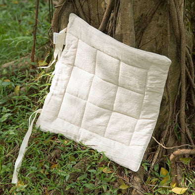 Solid Beige Geometry Strap Soft Cotton And Linen Cushion - Buykud