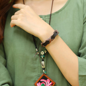 Retro Vintage Casual Hand Made Dark Coffee Bracelet For Women - Buykud