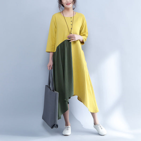 Irregular Round Neck Three Quarter Sleeve Yellow And Green Dress - Buykud