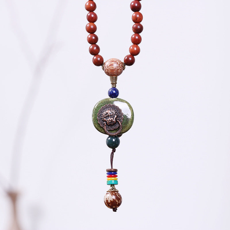 Classic Wooden Agate Pendant Necklace - Buykud