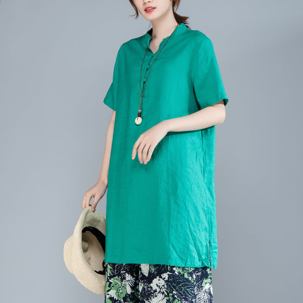 Women Short Sleeve Stand Collar Green Tops
