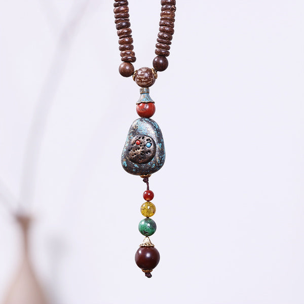 Vintage Mental Bead Pendant Necklace
