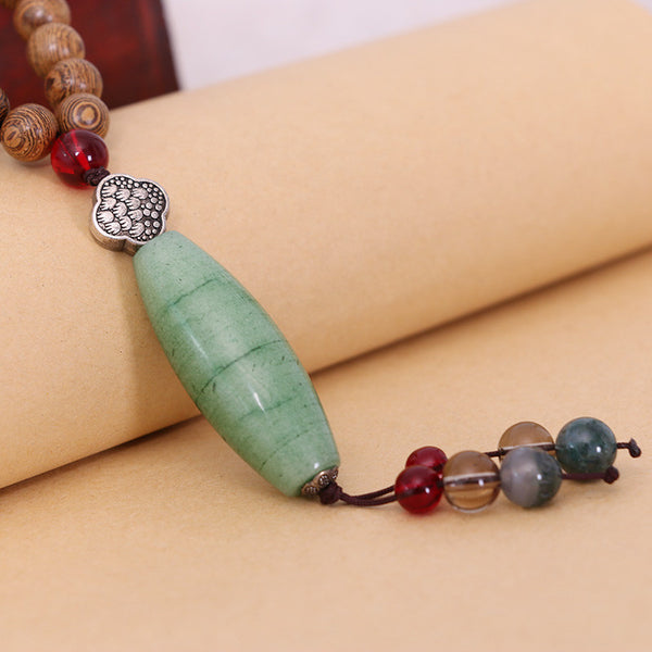 Dedicate Jewelry Agate Wood Pendant Necklace - Buykud