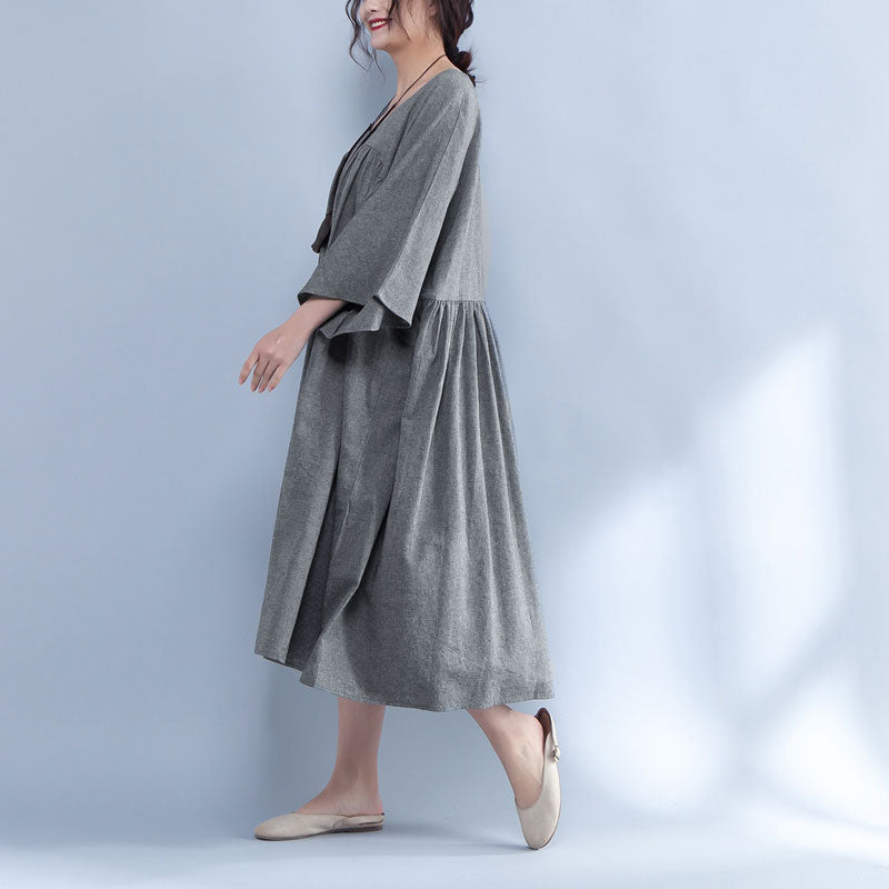 V Neck Three Quarter Sleeve Loose Gray Dress - Buykud
