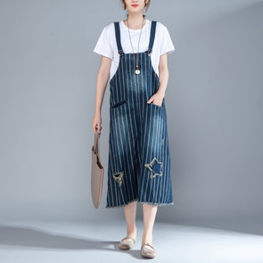 Women Suspender Stripe Blue Cotton Dress