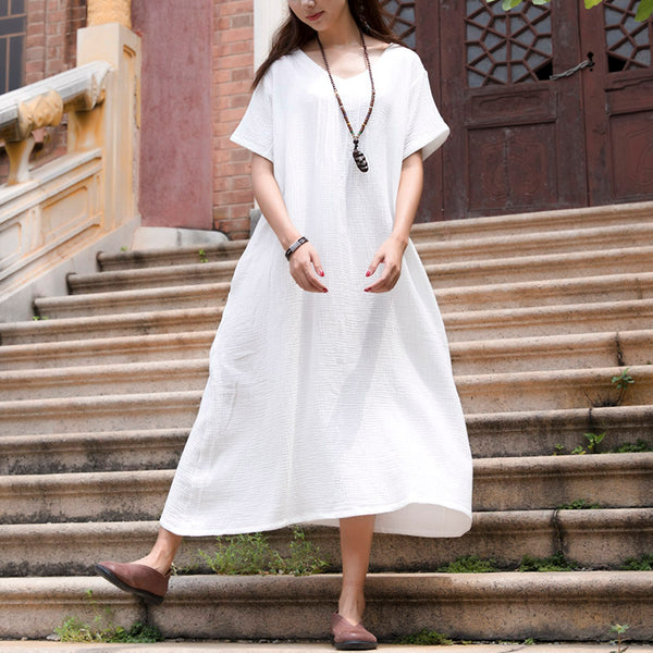 Graceful Women Cotton Pleated A-line White Dress - Buykud