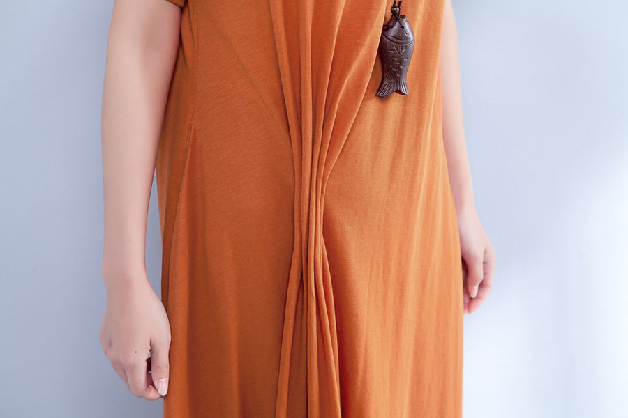 Short Sleeve Round Neck Summer Irregular Orange Dress - Buykud