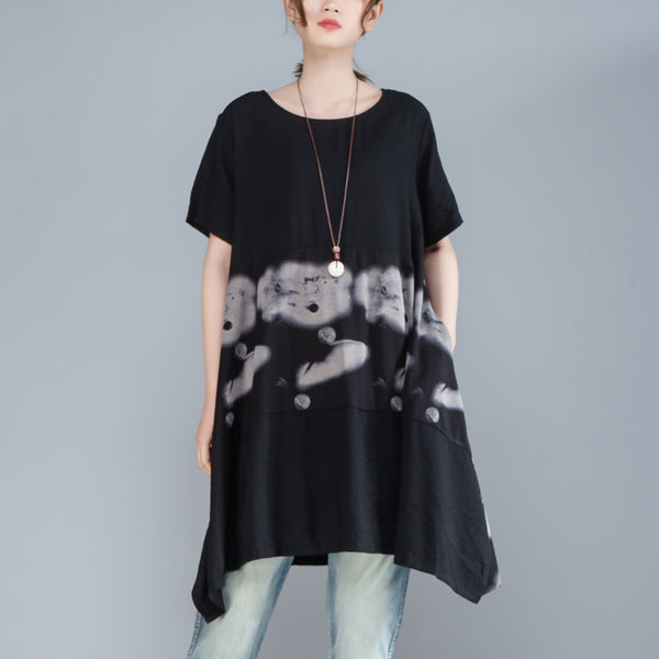 Women Short Sleeve Printed Casual Loose Black Dress
