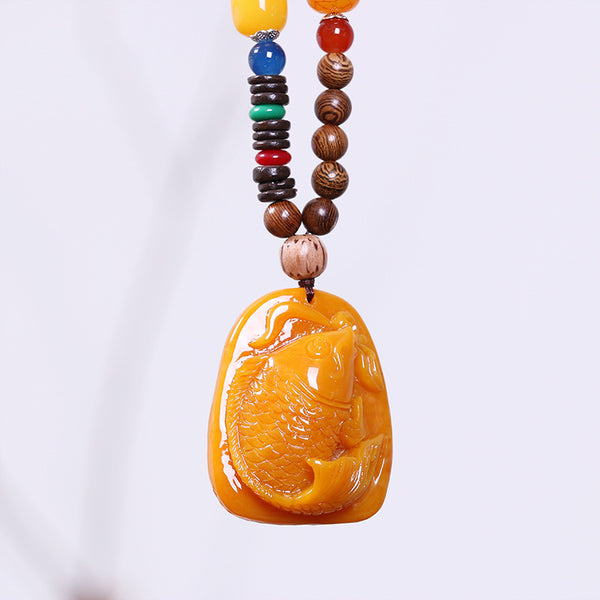 Retro Women Wooden Beads Fish Necklace
