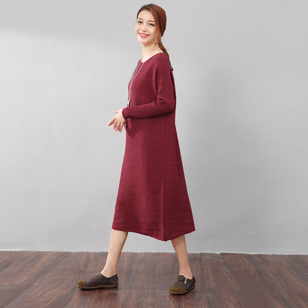 Women Autumn Stripe Long Sleeves Knitting Red Dress - Buykud