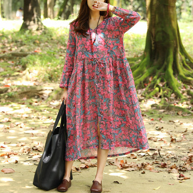Autumn V Neck Retro Printing Long Sleeve Dress For Women - Buykud