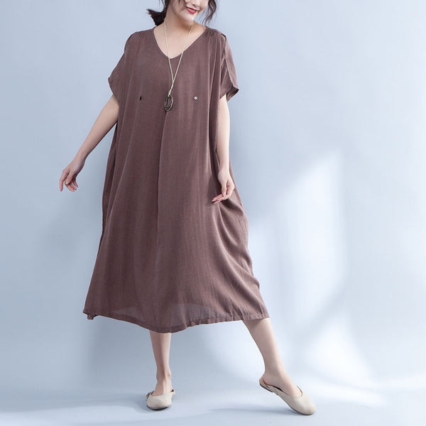 V Neck Shoulder Sleeve Summer Loose Cotton Dress - Buykud