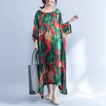 Summer Loose Round Neck Three Quarter Sleeve Printed Dress - Buykud