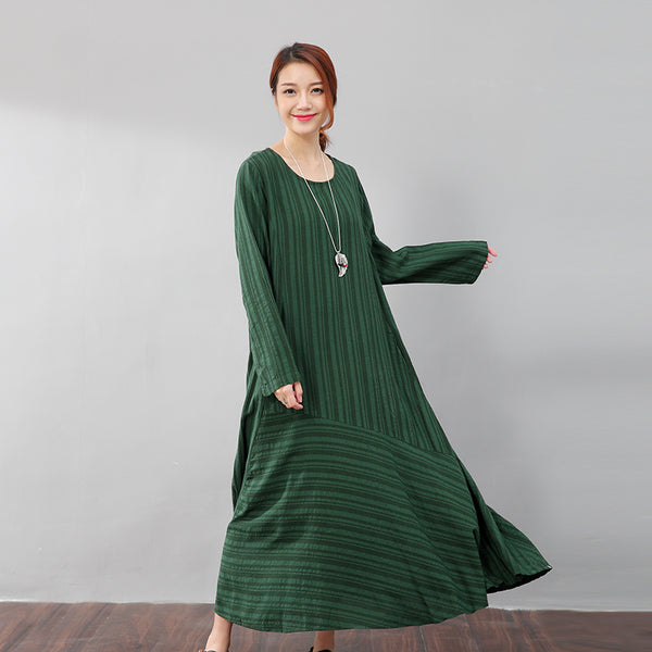 Literature Casual Loose Stripe Pocket Flax Long Sleeves Green Dress - Buykud