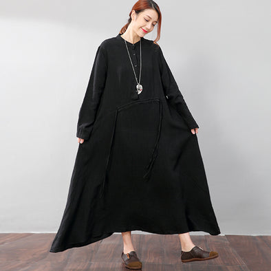 Stand Collar Women Lattice Flax Long Sleeves Black A-line Dress - Buykud