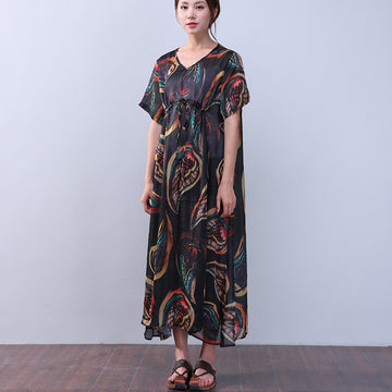 Retro Printing Strap Silk Short Sleeves Black Dress - Buykud