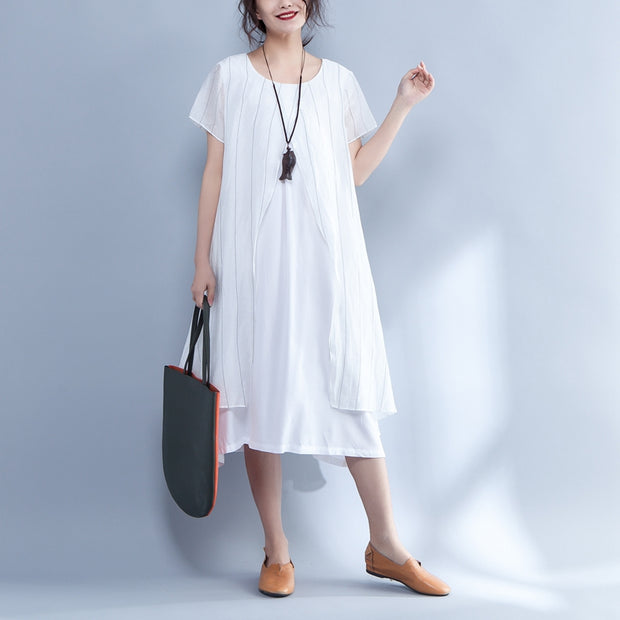 Stripe False Two Piece Round Neck Short Sleeve Dress - Buykud