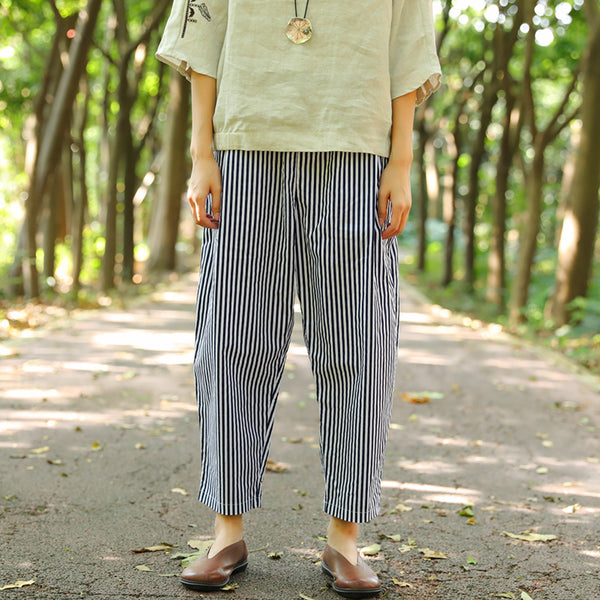 Women Pockets Blue And White Stripe Casual Loose Pants